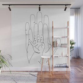 Family of Three Hands in One Line Art Wall Mural