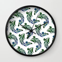 Blue And Green Watercolor Artistic Feather Wall Clock