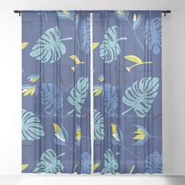 Tropical forest jungle monstera flowers pattern Sheer Curtain