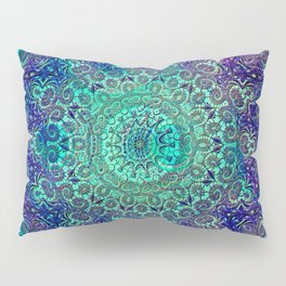 Aqua and Violet Mandala Lace Pillow Sham