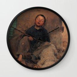 Jules Bastien-Lepage - Le petit colporteur endormi Wall Clock