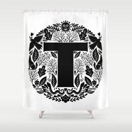 Letter T monogram wildwood Shower Curtain