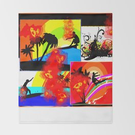 Posterized Surfing Collage Throw Blanket