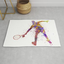 tennis player in silhouette 02 Rug