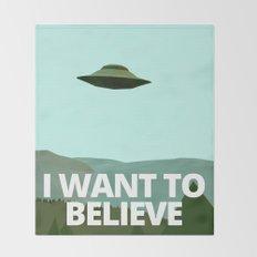 I want to believe low-poly ufo Throw Blanket