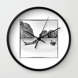 Thailand, taxi boats at Maya Bay Wall Clock