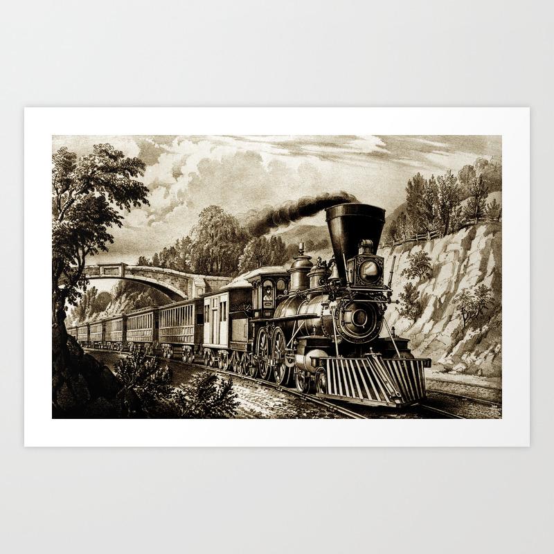 Vintage Steam Train Illustration Art Print By Pixxart Society6