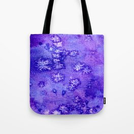 Purple and Blue Abstract Snowflakes Tote Bag