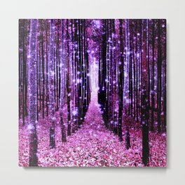 Magical Forest Pink & Purple Metal Print