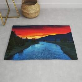 Yellowstone National Park River and Mountain Sunset Rug