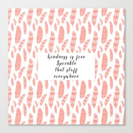 Bohemian Feathers Coral  Kindness is Free Canvas Print