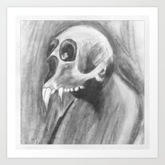 Skull with fangs Art Print