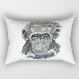 chimpanzee with snowdrop Rectangular Pillow