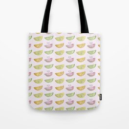 Cute and playful whale art as watermelon, lemons, limes and oranges Tote Bag