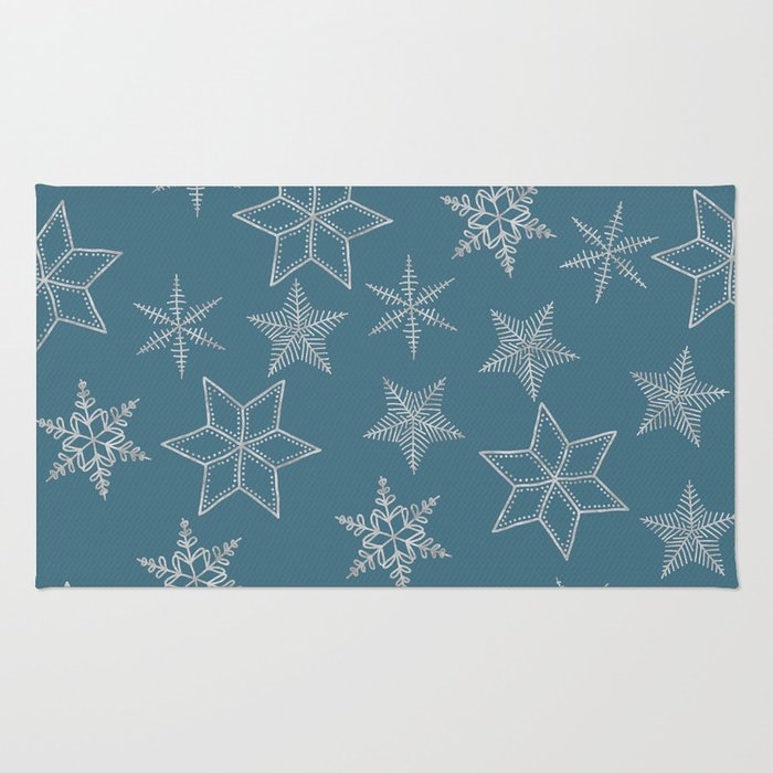 Silver Snowflakes On Teal Background Rug