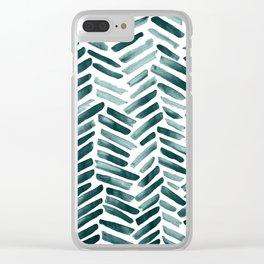 Aquamarine Strokes Clear iPhone Case