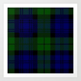 Scottish Campbell Tartan Pattern-Black Watch #2 Art Print