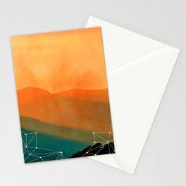 Orange Geometric Mountains Stationery Cards