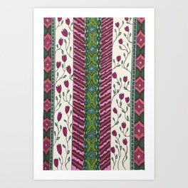 Green and Pink Floral stripe pattern Art Print