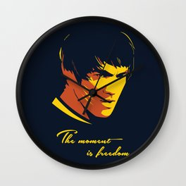 The Moment in Freedom - BruceLee quote Wall Clock