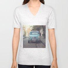 Mint - Blue Retro Fiat Car  Unisex V-Neck