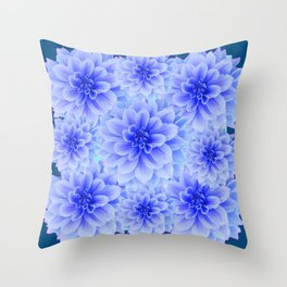 BLUE-WHITE DAHLIA FLOWERS IN  TEAL COLOR Throw Pillow