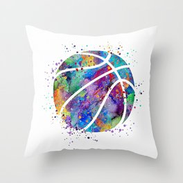 Basketball Watercolor Art Print Sports Poster Home Decor Kids Room Sports Painting Nursery Decor Throw Pillow