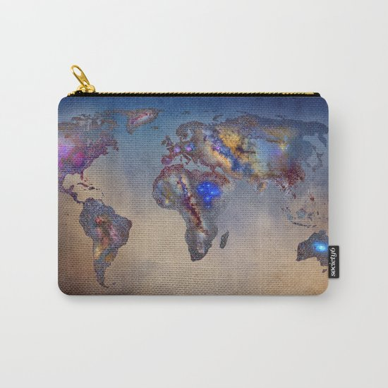 Stars world map. Blue Carry-All Pouch