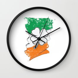 Distressed Irish Flag St Patricks Shamrock Wall Clock