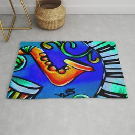 Blue Saxophone and Piano Keys Heart Rug