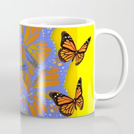 MONARCH BUTTERFLIES ABSTRACT ON YELLOW-GOLD Coffee Mug