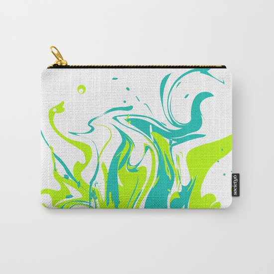 Green with turquoise blue abstraction on white background . Carry-All Pouch