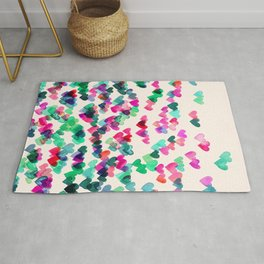 Heart Connections II - watercolor painting (color variation) Rug