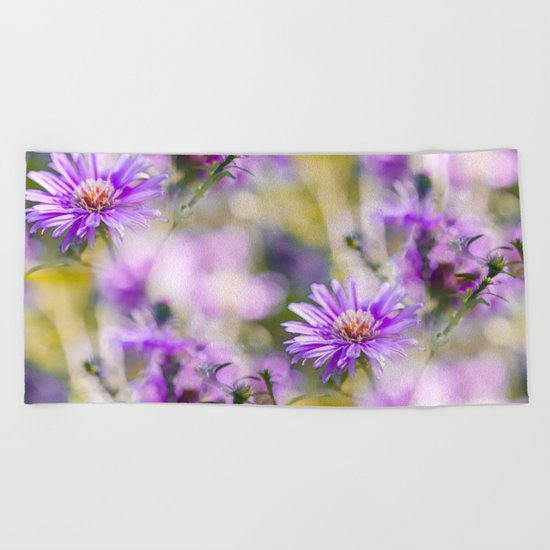 Summer dream - purple flowers - happy and colorful mood Beach Towel