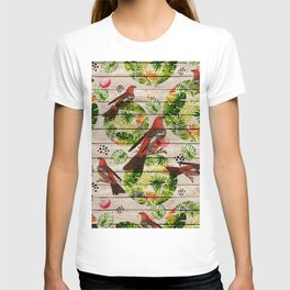 Rustic white wood tropical red green watercolor floral red birds T-shirt