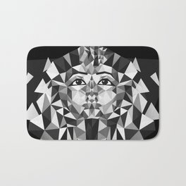Black and White Tutankhamun - Pharaoh's Mask Bath Mat