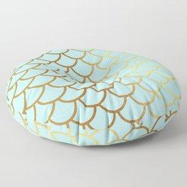 Aqua Teal And Gold Foil MermaidScales - Mermaid Scales Floor Pillow
