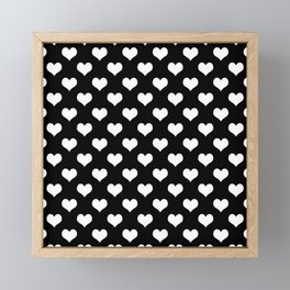 Black White Hearts Minimalist Framed Mini Art Print