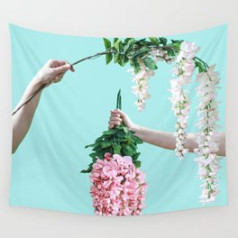 1992 Floral Episodes (Aqua) Wall Tapestry