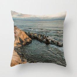 The rocky beach Throw Pillow