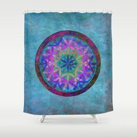 flower of life Shower Curtains featuring Flower of Life 3 by Klara Acel
