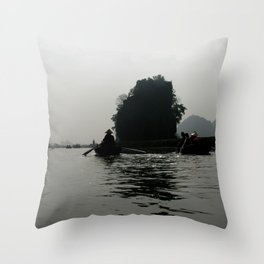 Silhouette Rowing Boats River Mountains, Tam Coc, Vietnam Throw Pillow