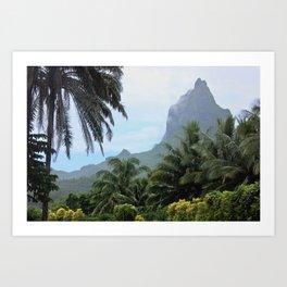Polynesian Volcano Ruins in Rain Art Print