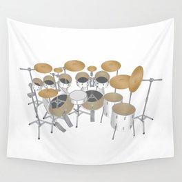 White Drum Kit Wall Tapestry