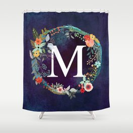 Personalized Monogram Initial Letter M Floral Wreath Artwork Shower Curtain