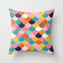 Brightly Colored Mermaid Quilt Throw Pillow