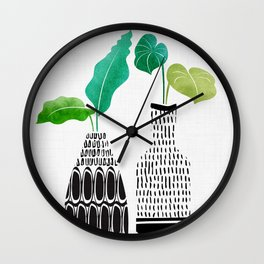 Tribal Vases II with Tropical Greenery Wall Clock