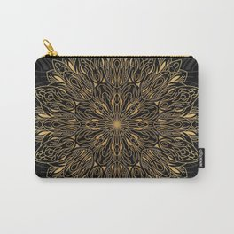 MANDALA IN BLACK AND GOLD Carry-All Pouch