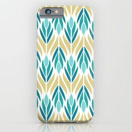 Mid Century Modern Abstract Floral Pattern in Turquoise Teal Aqua and Marigold iPhone Case