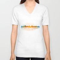 islam V-neck T-shirts featuring Jerusalem City Skyline Hq v3 by HQPhoto